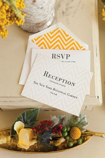 Carneros Response Set, Reception Card and Lined Envelope, Letterpress with Painted Edges