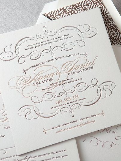 Sonoma Invitation Suite, Letterpress with Painted Edges
