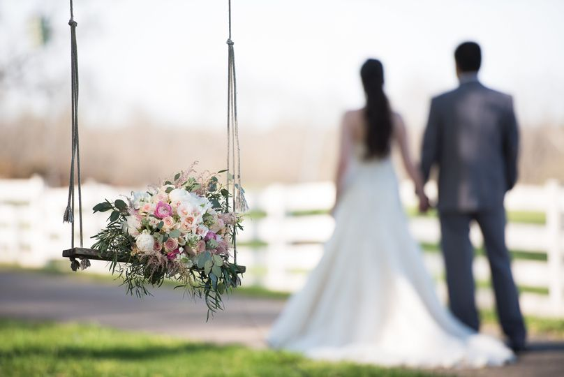 Bouquet on the swing