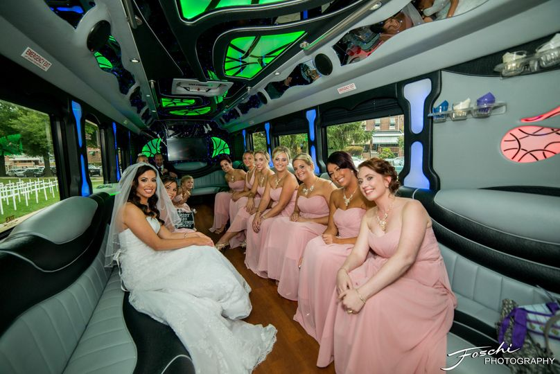 Bridal party in the party bus