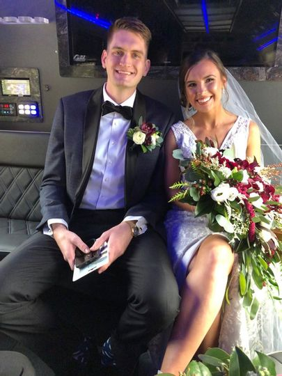 Wedding Couple In Party Bus