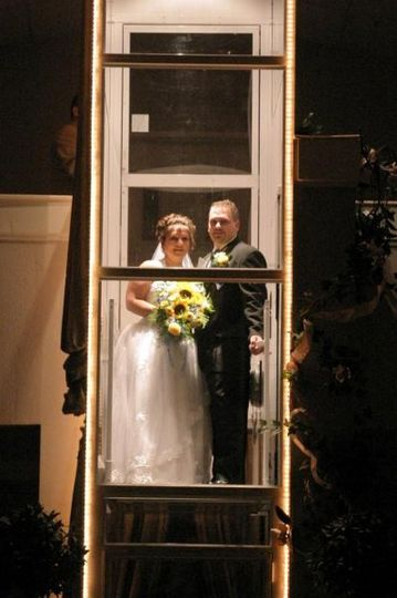 Here comes the bride & groom at Palace Grand.