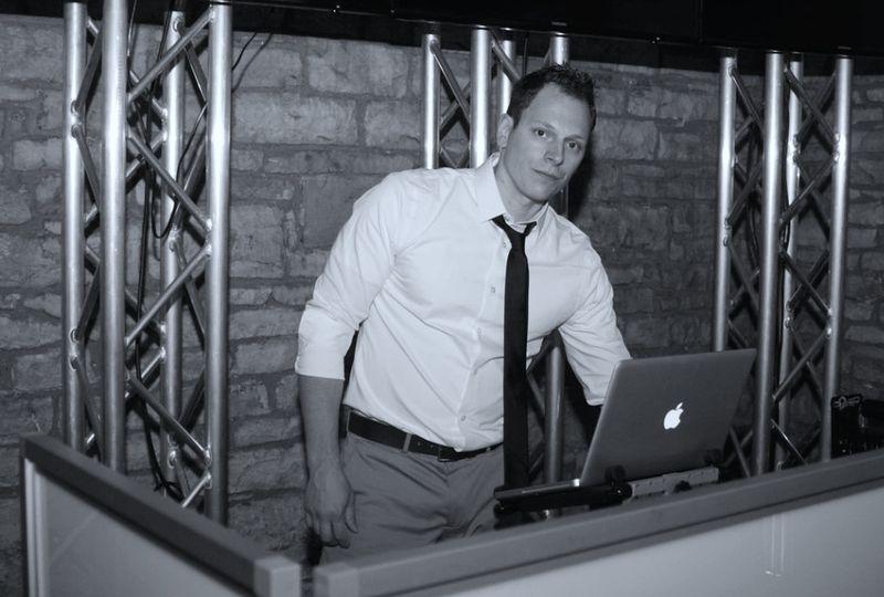 DJ setting up