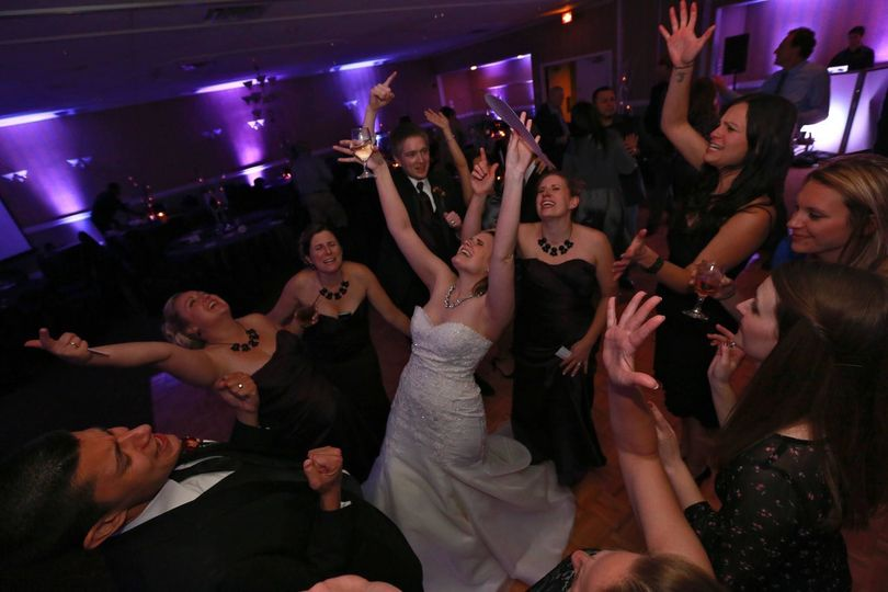 Bride and her guests on the dance floor