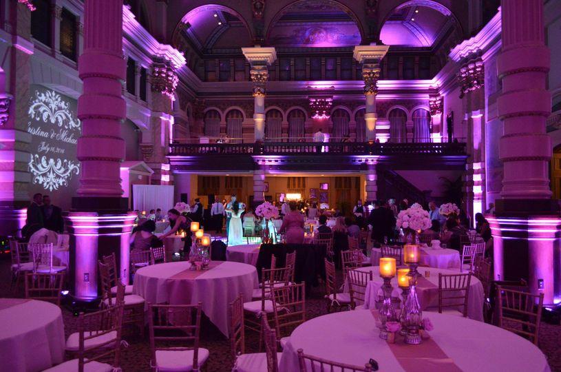 Pink reception lighting
