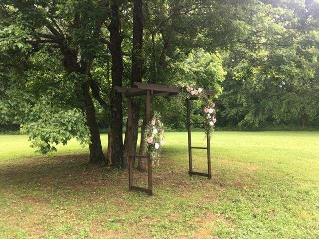 Gorgeous wooden arbor to celebrate your special day. Easy to set up and take down.