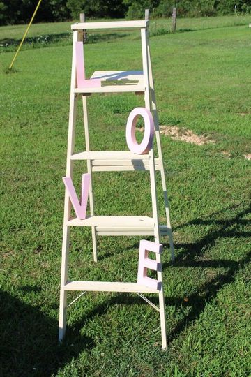 Ivory ladder with LOVE letters in pink. Rented with or without letters.