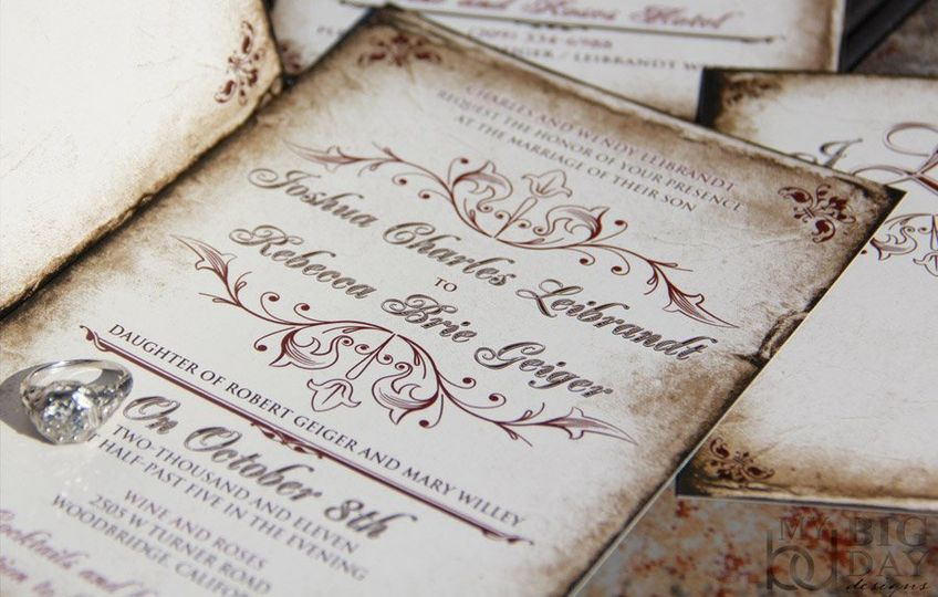 23AntiquePolishedParchmentInvitationSet