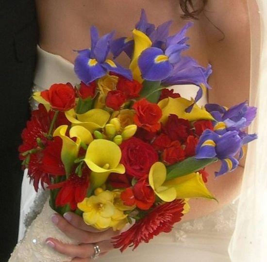 Iris, tulip, calla lily and gerbera daisy Bridal Bouquet