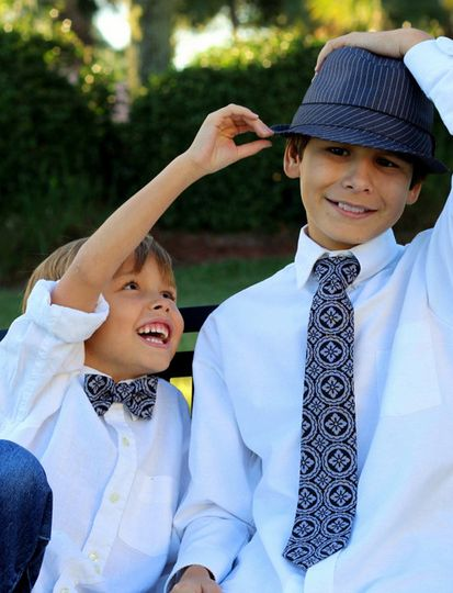 Black and White Medallion Bow Ties and Neckties