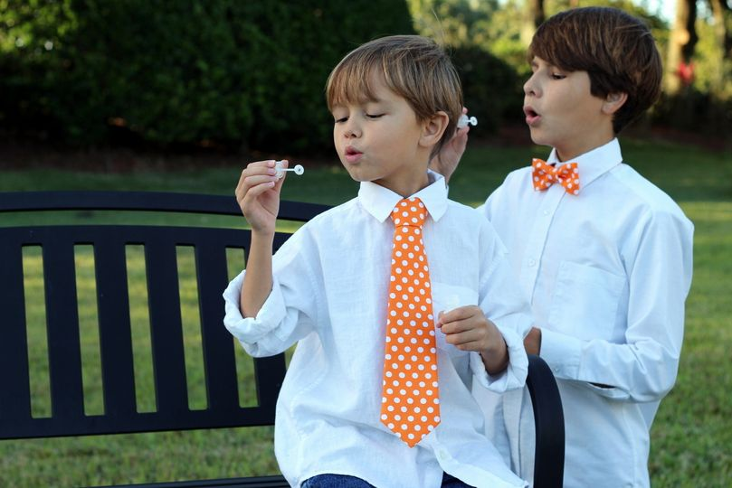 Because I'm Me Orange and White Dot Bow Tie and Necktie for Boys and Men