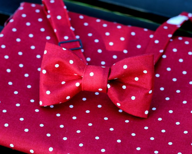 Because I'm Me Red Dot Bow Tie and Pocket Square