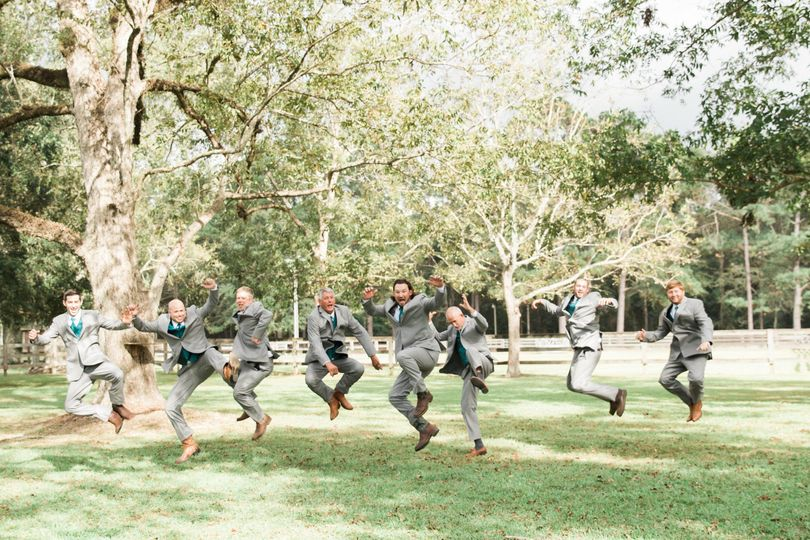 Wedding jump shot photo