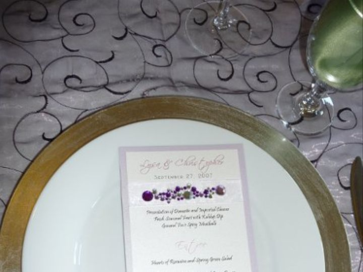 Tmx 1332175865286 Purplebeadedmenucard Elk Grove wedding invitation