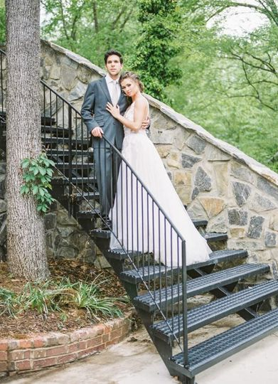 Couple by the staircase