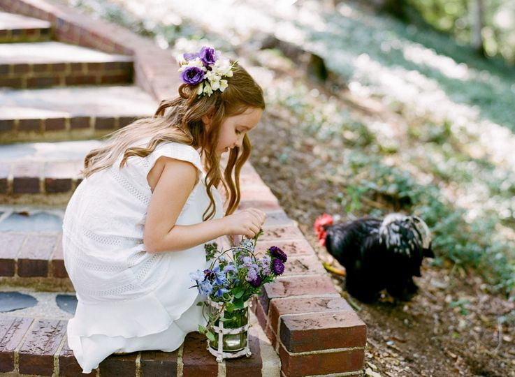 Flower girl and rooster