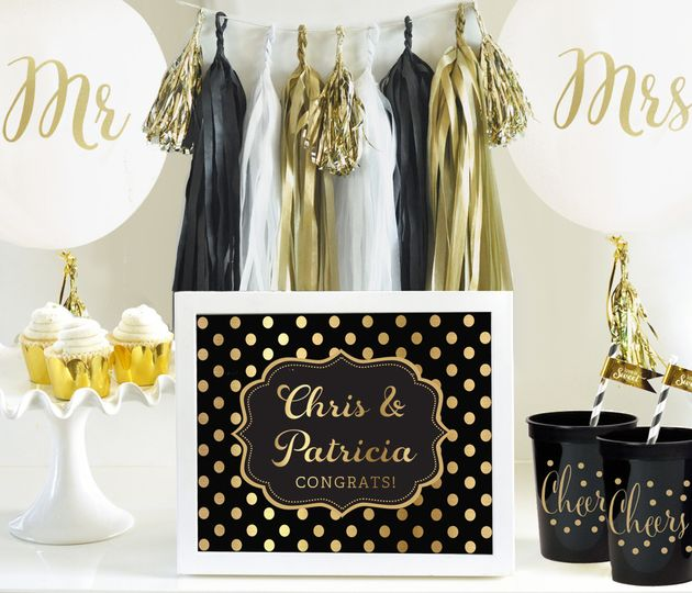 Mr & Mrs Foil Balloons, Wedding Tassel Garland, Cheers party cups, gold foil cupcake wrappers,...
