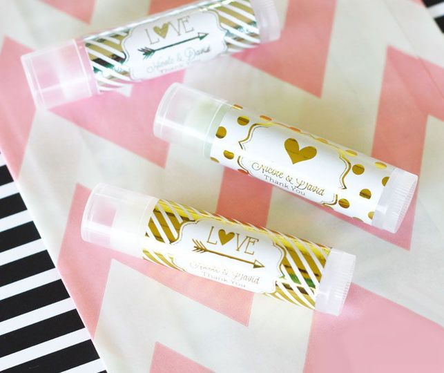 Personalized Gold or Silver Foil Lip Balm Favors