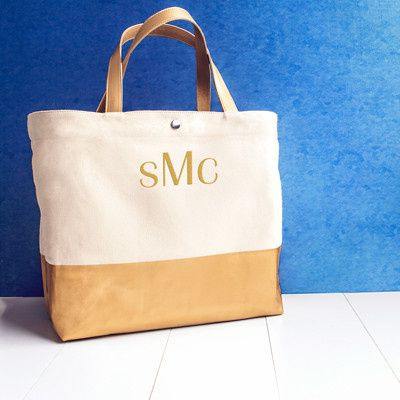 Personalized Gold Dipped Tote Bags