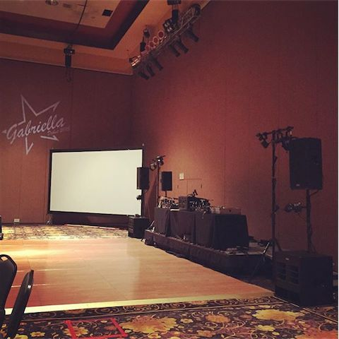 DJ setup in the ballroom