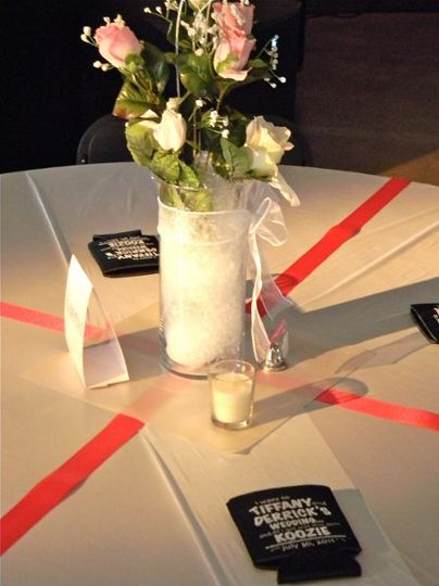 Here we have used pin spot lighting on the centerpieces.