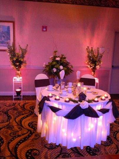 Lighting of the sweetheart table and room decor.
