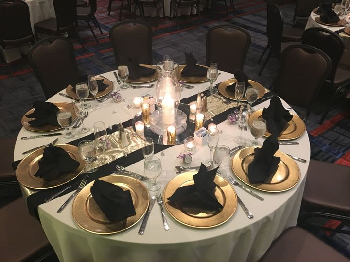 Table display - ivory, gold & black