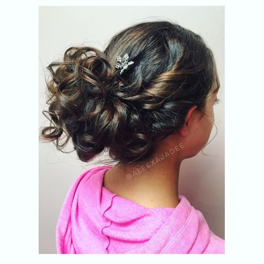 Updo with accessory
