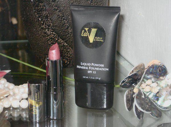 Window Display at Burgevin Floral Shop, Kingston, NY Featuring:  laV Liquid Mineral Powder...