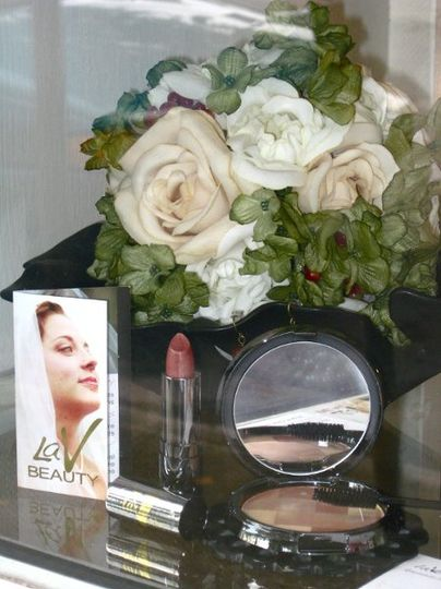 Window Display at Burgevin Floral Shop, Kingston, NY Featuring:  laV Mosaic Bronzer Micro Heather...