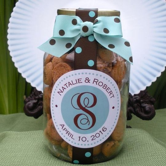 personalized cookie favor, wedding cookie welcome jar, personalized edible wedding favor