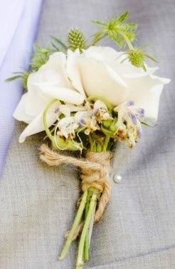 shabby chic boutonniere in white wrapped in twine
