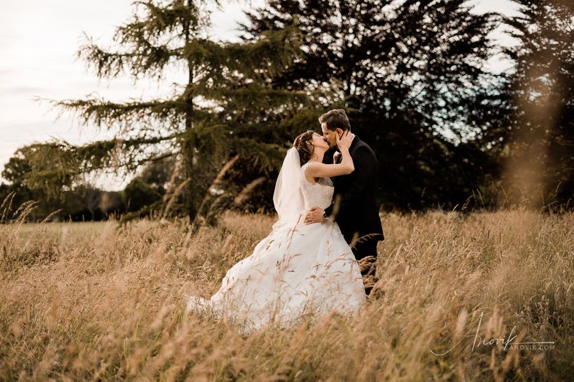 Newlyweds kissing in a field