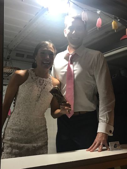 Bride and groom with ice cream