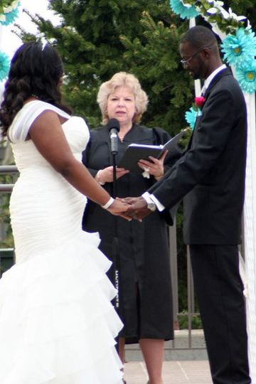 Amina and Larry's vow renewal ceremony in the Rose Garden of the Bolingbrook Golf Club in...