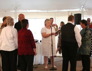 Kris & Paula, and Kristi & Mary in a double civil union ceremony in the tent at Bolingbrook Golf...