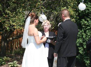 Debbie and Troy in a garden ceremony at the home of the groom's parents