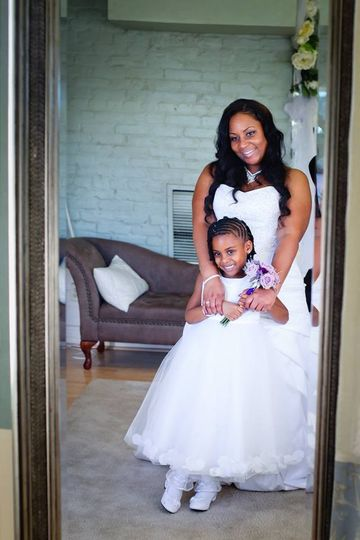 bride and flower gir