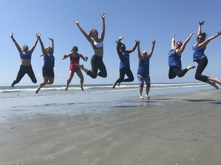 Charleston Bachelorette Yoga on Folly Beach with Serenity Tree Yoga