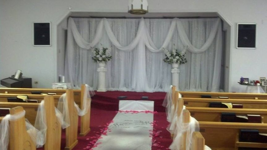 backdrop and drape at front of church