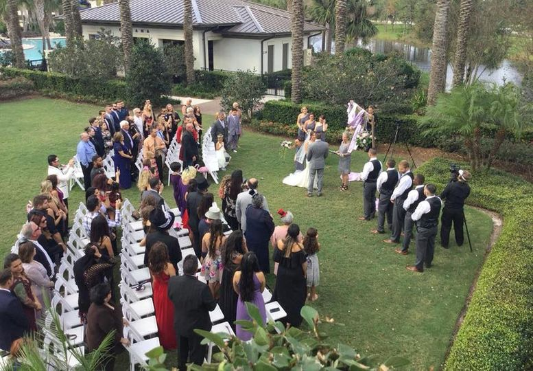 Aerial outdoor view of ceremony