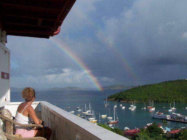 Front Suite balcony.  View of Cruz Bay.