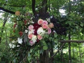Flower arrangement on a tree