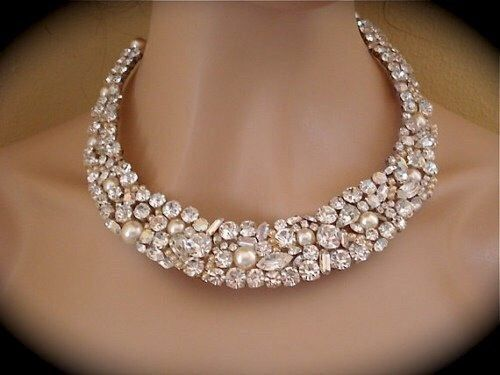 Crystal and Pearl Bridal Mosaic Necklace