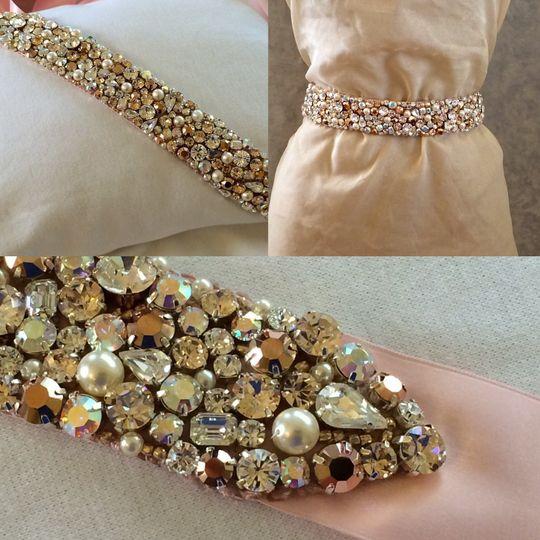 Crystal and Pearl Rose Gold Sash - OOAK