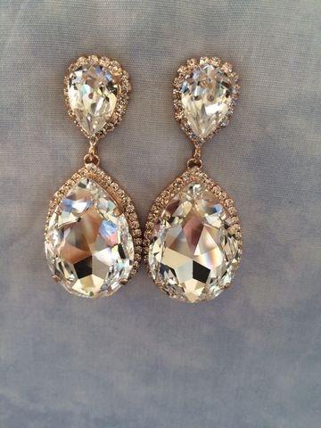 Swarovski Crystal Embellished Teardrop Earrings