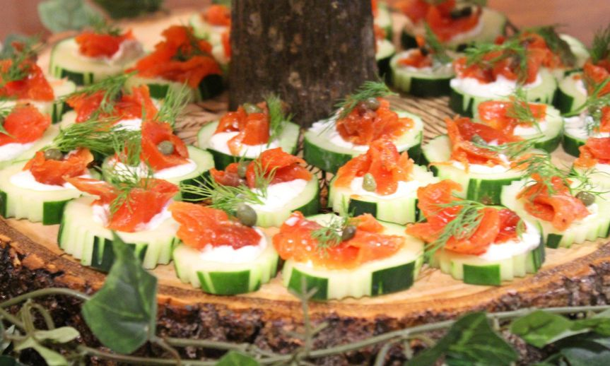 Salmon lox canapes