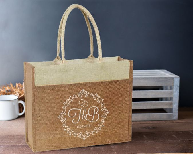 Monogrammed jute tote bags are trendy and reusable