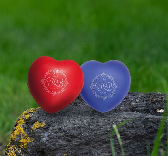 Your guests are going to love these heart stress balls with your initials!