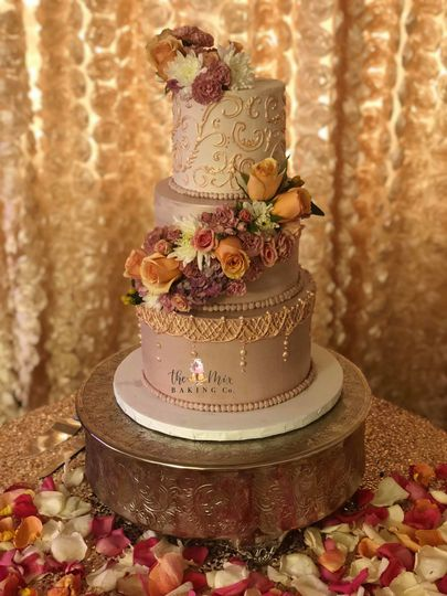 3 tier floral cascade, hand painted rose gold piping